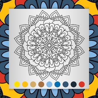 Flor de mandala para adultos relaxando livro para colorir.
