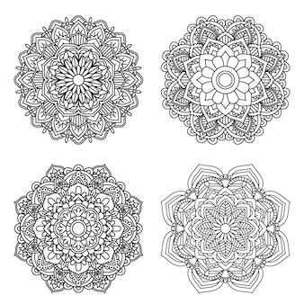 Flor de mandala para livro de colorir adulto 4 estilo.