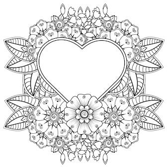 Flor de mehndi com moldura em forma de coração flor de mehndi em estilo oriental étnico doodle ornamento página de livro para colorir