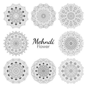 Flor de mehndi em estilo oriental étnico doodle ornamento contorno mão desenhar ilustração página de livro para colorir