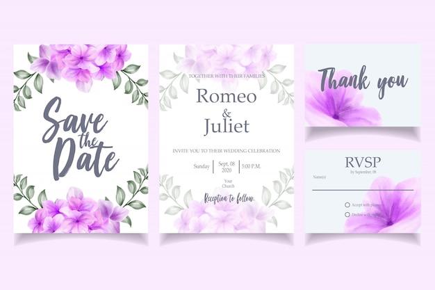 Flor de modelo de cartão de convite lindo casamento aquarela