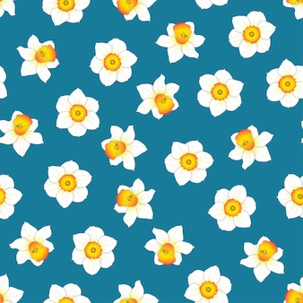 Flor de narciso em fundo azul índigo