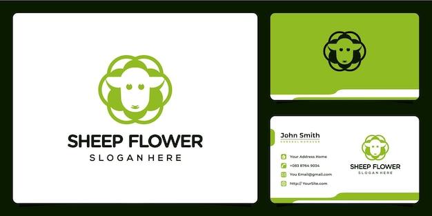 Flor de ovelha combina design de logotipo e cartão de visita