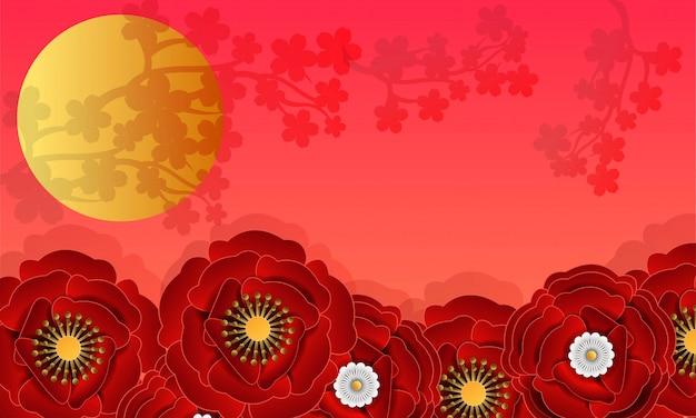 Flor de papel cortado em fundo vermelho