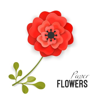 Flor de papel exuberante peônia vermelha na pequena haste com folhas isoladas de ilustração vetorial no fundo branco. trabalho minucioso de origami no tema flores.