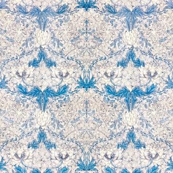 Flor de papoula branca vintage com padrão de folhas azuis