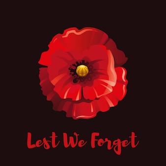 Flor de papoula vermelha para o dia da lembrança