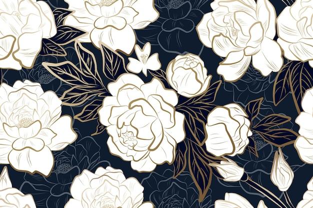 Flor de peônia de ouro de luxo com padrão sem emenda de fundo azul para papel de parede de convite de casamento de tecido e impressão Vetor Premium