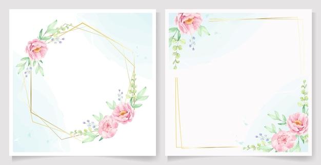 Flor de peônia rosa aquarela com coleção de modelo de cartão de convite de moldura dourada