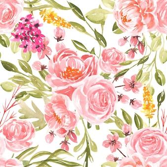 Flor de pêssego aquarela sem costura padrão