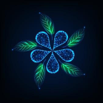 Flor de poli baixa brilhante futurista e folhas verdes feitas de linhas