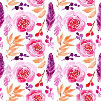 Flor de rosa sem costura padrão aquarela