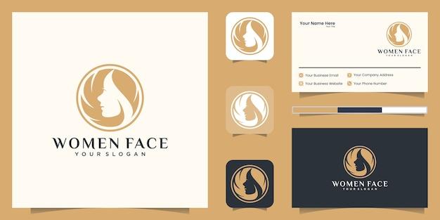 Flor de rosto de mulher com logotipo de estilo de linha de arte e design de cartão de visita.