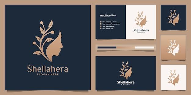 Flor de rosto de mulher minimalista com logotipo gradiente dourado e design de cartão de visita.