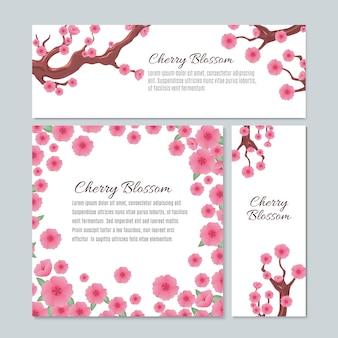 Flor de sakura com modelo de cartão de casamento de convite de flores de cereja rosa