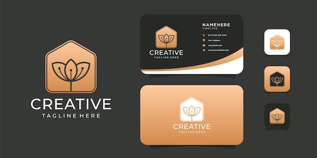 Flor de spa criativo com construção de design de logotipo de forma imobiliária.