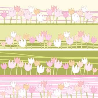 Flor de tulipas. padrão de vetor sem emenda.