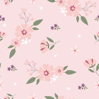 Flor de variedade no padrão de fundo rosa