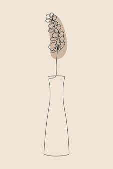 Flor de vaso estético botânico oneline linha artística contínua