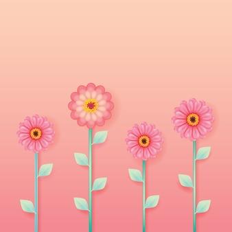 Flor de zínia rosa sobre fundo de cor pastel