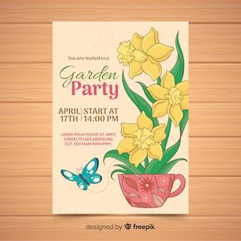 Flor, dentro, copo, jardim, partido, cartaz