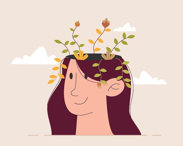 Flor dentro da cabeça da mulher