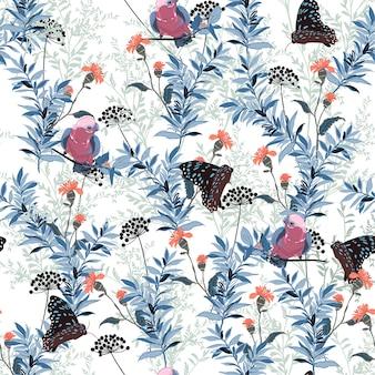 Flor desabrochando com vetor de padrão de pássaro e borboleta