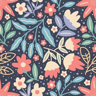 Flor desabrochando e folhas coloridas padrão sem emenda da natureza