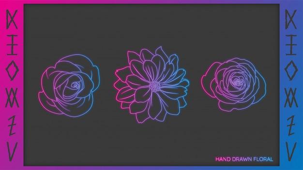 Flor desenhada à mão doodle luz de néon