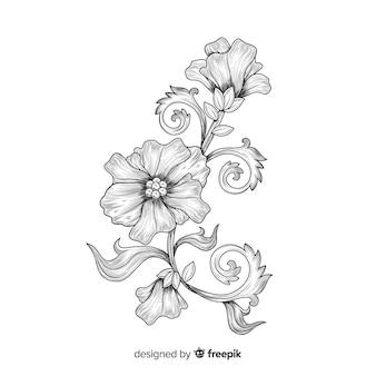 Flor desenhada de mão com estilo elegante