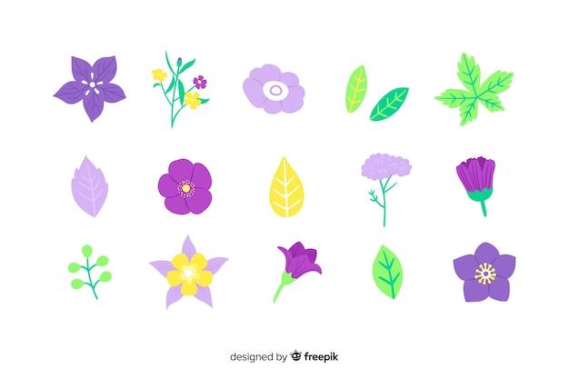 Flor desenhada de mão e folhas coleção
