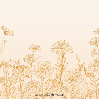 Flor desenhada de mão e folhas de fundo