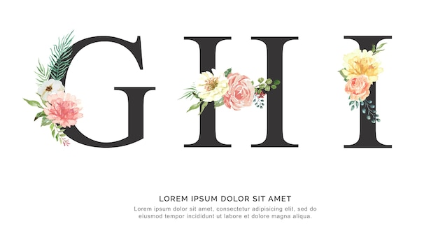 Flor do alfabeto ghi e aquarela das folhas.