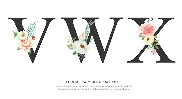 Flor do alfabeto vwx e aquarela das folhas.
