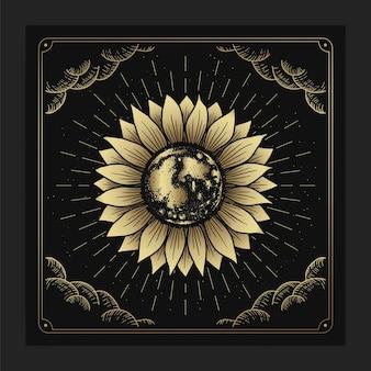 Flor do sol e terra, lua ou planeta no meio em estilo luxuoso de gravura desenhada à mão