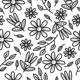Flor doodle padrão sem emenda