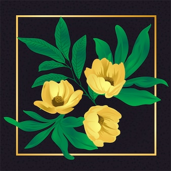 Flor dourada folha vintage natureza