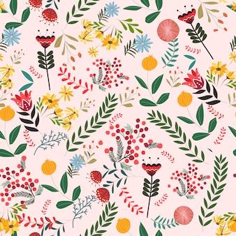Flor e deixar o padrão sem emenda de desenhos animados