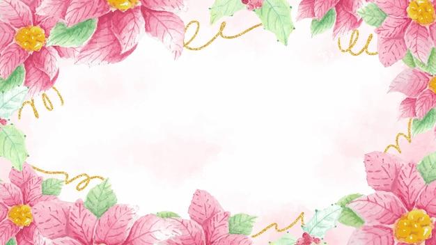 Flor e folha do azevinho da poinsétia de natal em aquarela com glitter dourado no fundo inicial