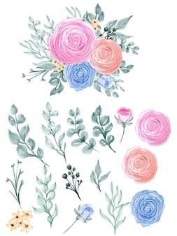 Flor e folha em aquarela de isolamento de ranúnculo