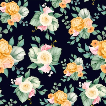 Flor e folhas bonitas de padrão sem emenda