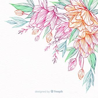Flor e folhas desenhadas mão