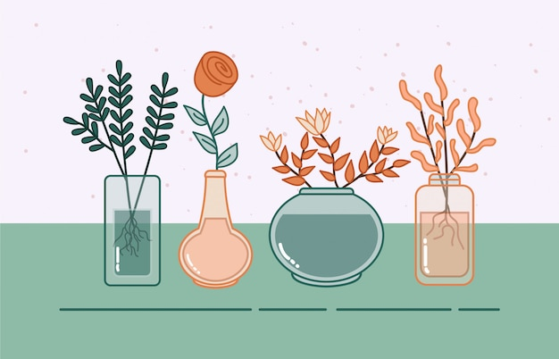 Flor e planta na ilustração pote de vidro.