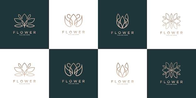 Flor elegante com coleção de design de logotipo em estilo line art