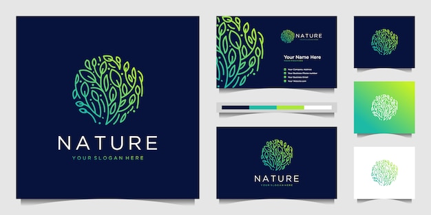 Flor elegante logotipo design gradiente linha arte.