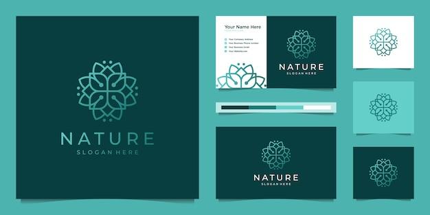 Flor elegante logotipo design linha arte.