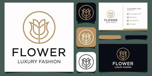 Flor elegante rosa beleza, ioga e spa. design de logotipo e cartão de visita