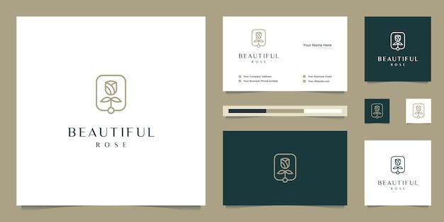 Flor elegante rosa beleza, yoga e spa. design de logotipo e cartão de visita
