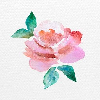 Flor em aquarela com folhas