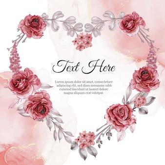 Flor em aquarela com moldura de rosa vermelha